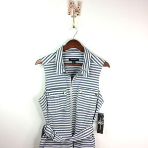 NEW Sharagano Striped Shirt Dress Sleeveless 14